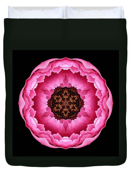 Pink Peony Flower Mandala Duvet Cover by David J Bookbinder