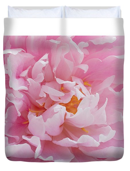Pink Peony Flower Waving Petals  Duvet Cover by Jennie Marie Schell