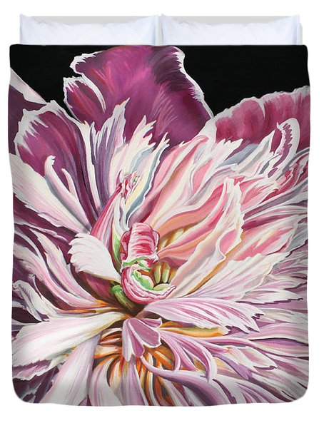 Duvet Cover featuring the painting Pink Peony by Jane Girardot