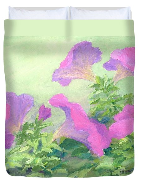 Pink Petunias Beautiful Flowers Art Colorful Original Garden Floral Flower Artist K. Joann Russell  Duvet Cover