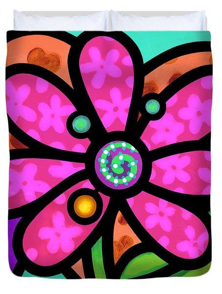 Pink Pinwheel Daisy Duvet Cover
