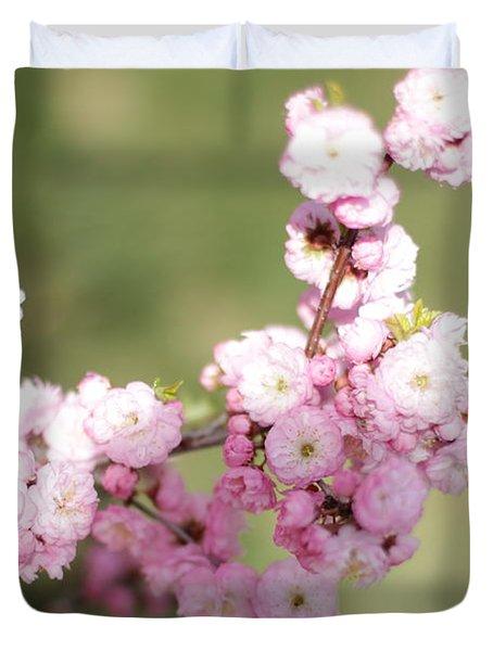 Pink Plum Branch On Green 2 Duvet Cover