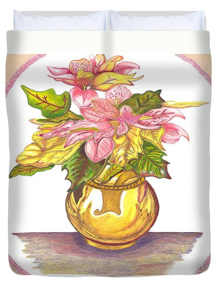 Pink Poinsettia Plant Duvet Cover
