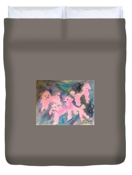 Pink Poodle Polka Duvet Cover