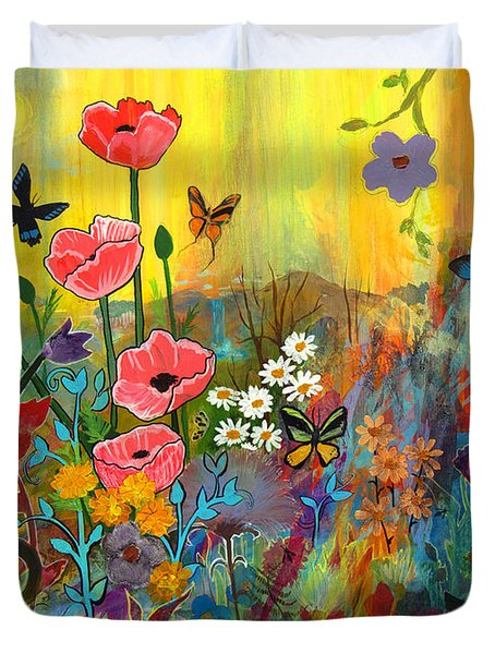 Duvet Cover featuring the painting Pink Poppies In Paradise by Robin Maria Pedrero