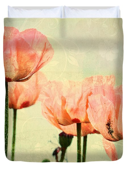 Duvet Cover featuring the photograph Pink Poppies In The Garden by Peggy Collins