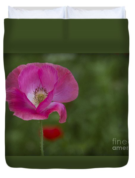 Duvet Cover featuring the photograph Pink Poppy. by Clare Bambers