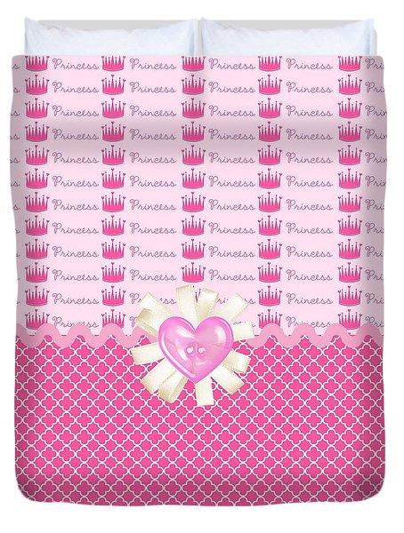Pink Princess Crowns Duvet Cover by Debra  Miller