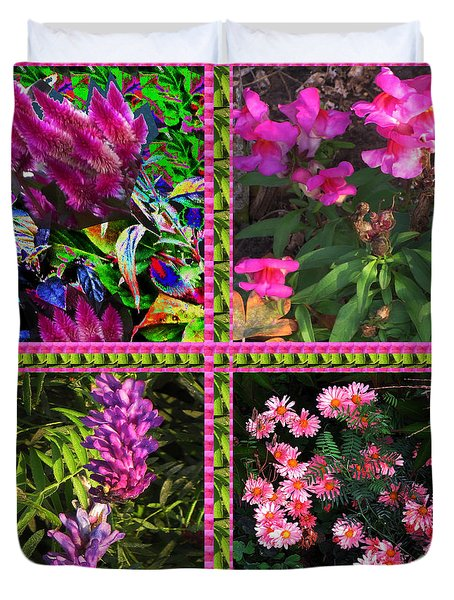 Pink Purple Flowers Captured At The Riverside Ridge At Oakville Ontario Canada Collage Beautiful     Duvet Cover