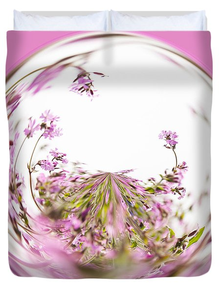 Pink Red Campion Duvet Cover by Anne Gilbert
