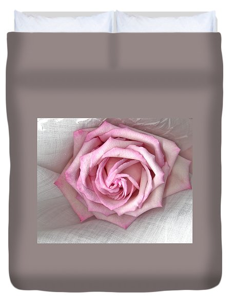 Pink Rose And Linen Duvet Cover by Sandra Foster