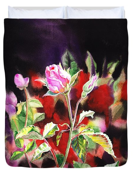 Pink Rose Bloom Duvet Cover