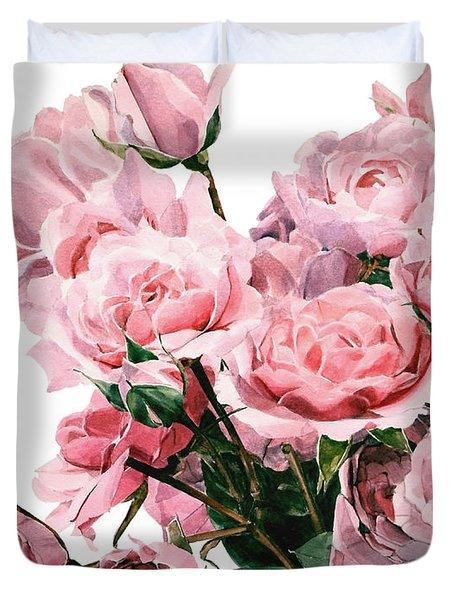 Pink Rose Bouquet Duvet Cover