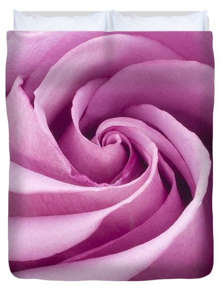 Pink Rose Folded To Perfection Duvet Cover by Sandra Foster