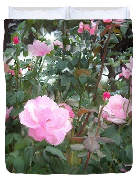 Pink Rose Garden Duvet Cover