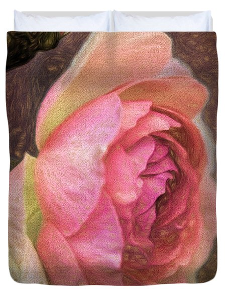 Pink Rose Imp 1 - Artistic Pink Rose With Buddies Duvet Cover