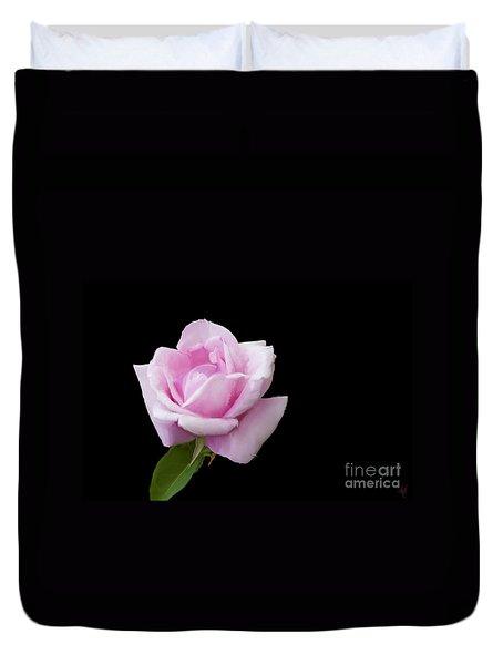 Pink Rose On Black Duvet Cover