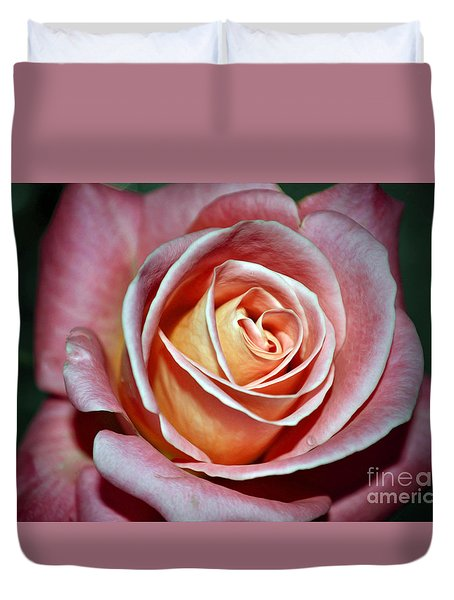 Duvet Cover featuring the photograph Pink Rose by Savannah Gibbs