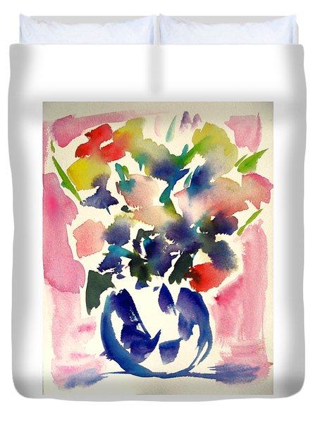Pink Roses In A Blue Vase Duvet Cover by Tolere
