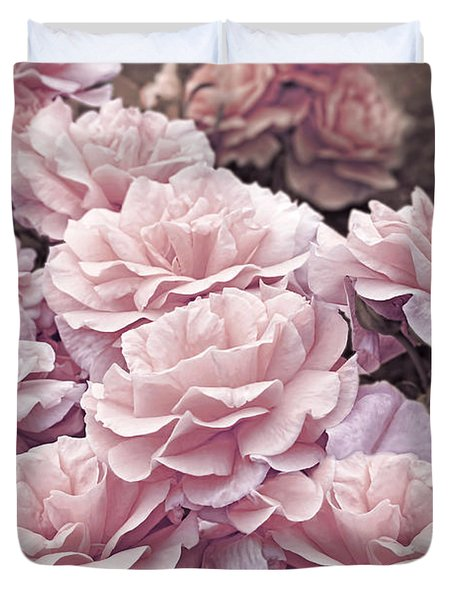 Pink Roses In The Garden Duvet Cover