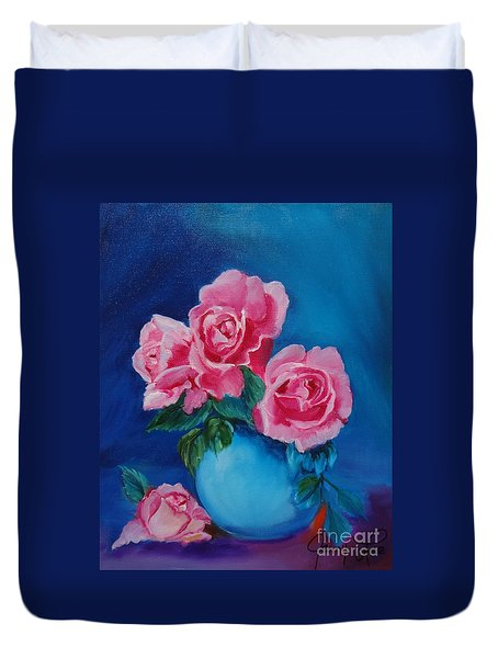 Pink Roses Duvet Cover by Jenny Lee