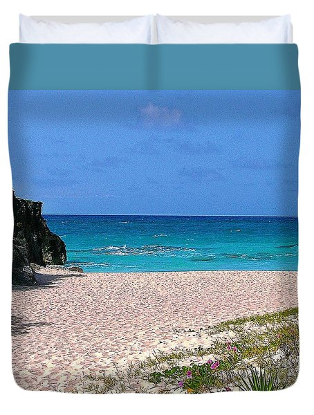 Duvet Cover featuring the photograph Pink Sand And Flowers by Judy Palkimas