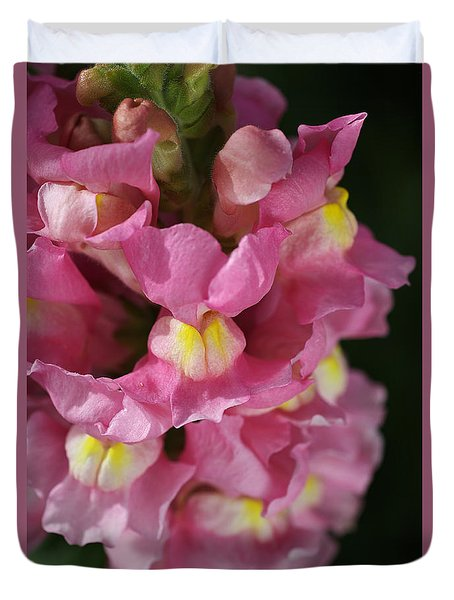 Pink Snapdragon Flowers Duvet Cover