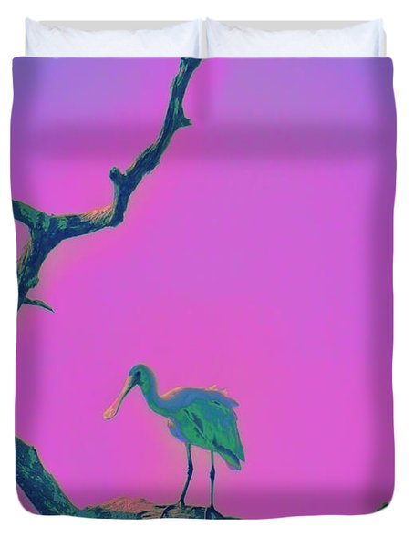Pink Spoonbill Duvet Cover by David Mckinney