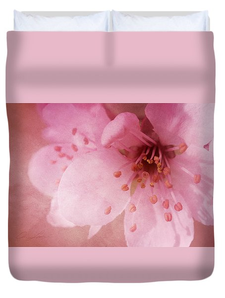 Duvet Cover featuring the photograph Pink Spring Blossom by Ann Lauwers