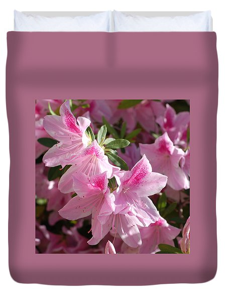Pink Star Azaleas In Full Bloom Duvet Cover