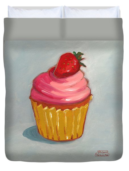 Pink Strawberry Cupcake Duvet Cover