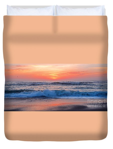 Pink Sunrise Panorama Duvet Cover by Kaye Menner