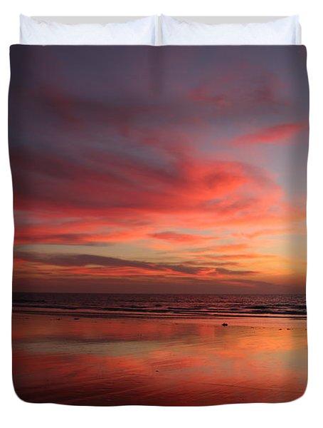 Ocean Sunset Reflected  Duvet Cover
