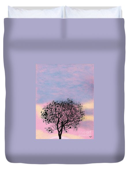 Duvet Cover featuring the drawing Pink Sunset by D Hackett