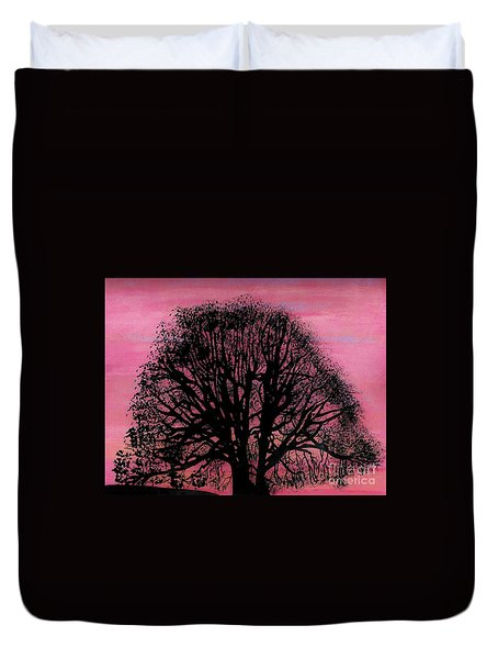 Duvet Cover featuring the drawing Pink Sunset Tree by D Hackett