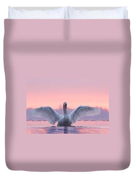 Pink Swan Duvet Cover