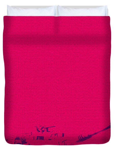 Duvet Cover featuring the mixed media Pink Tank by Michelle Dallocchio