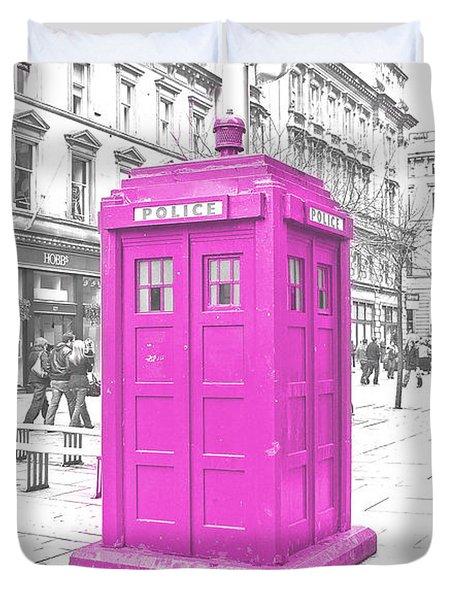 Pink Tardis  Duvet Cover by Rob Hawkins