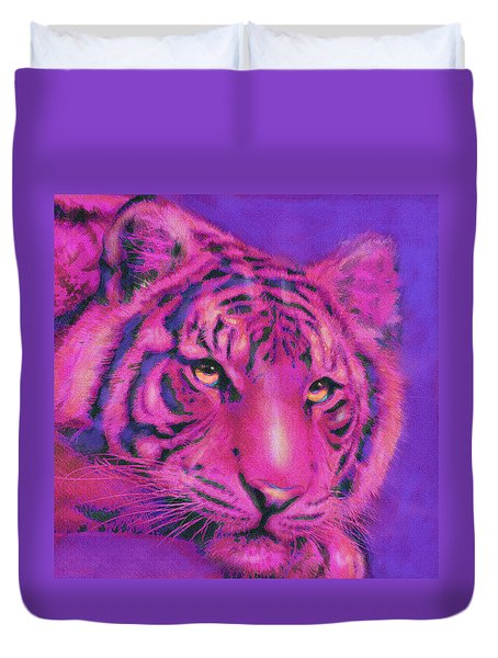 Duvet Cover featuring the digital art Pink Tiger by Jane Schnetlage