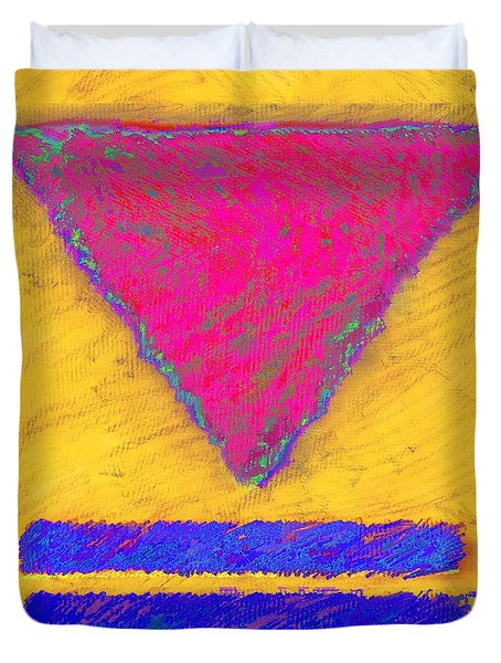 Pink Triangle On Yellow Duvet Cover