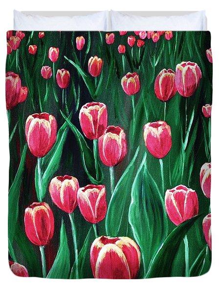 Pink Tulip Field Duvet Cover by Anastasiya Malakhova