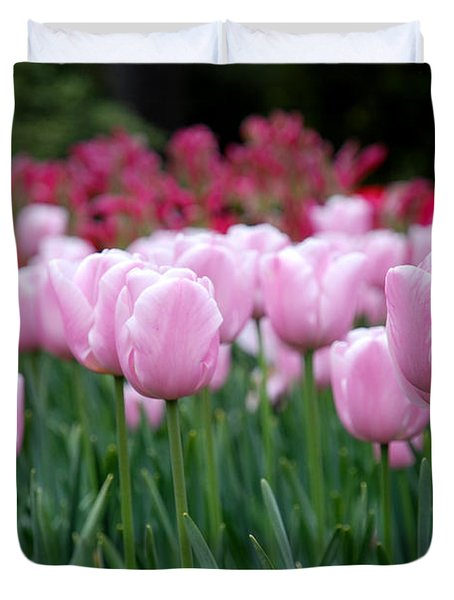 Pink Tulip Garden Duvet Cover by Jennifer Ancker