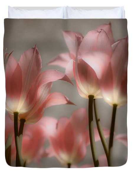 Duvet Cover featuring the photograph Pink Tulips Glow by Michelle Joseph-Long