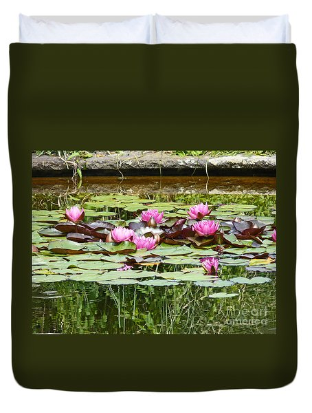 Pink Water Lilies Duvet Cover