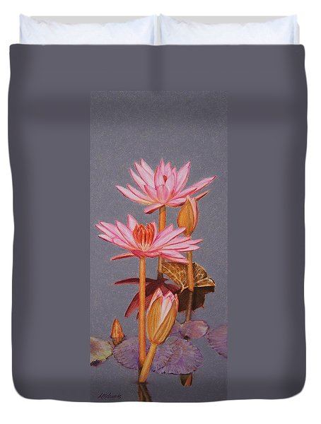 Pink Water Lilies Duvet Cover by Marna Edwards Flavell