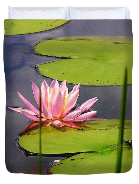 Pink Water Lily And Dragonfly Duvet Cover by Sherman Perry