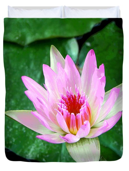 Duvet Cover featuring the photograph Pink Waterlily Flower by David Lawson