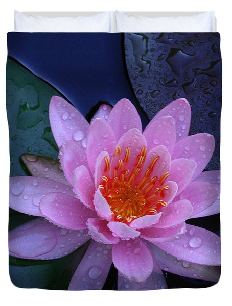 Duvet Cover featuring the photograph Pink Waterlily by Raymond Salani III