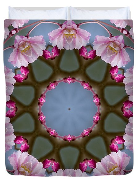 Pink Weeping Cherry Blossom Kaleidoscope Duvet Cover by Kathy Clark