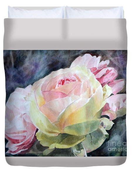 Pink Yellow Rose Angela Duvet Cover